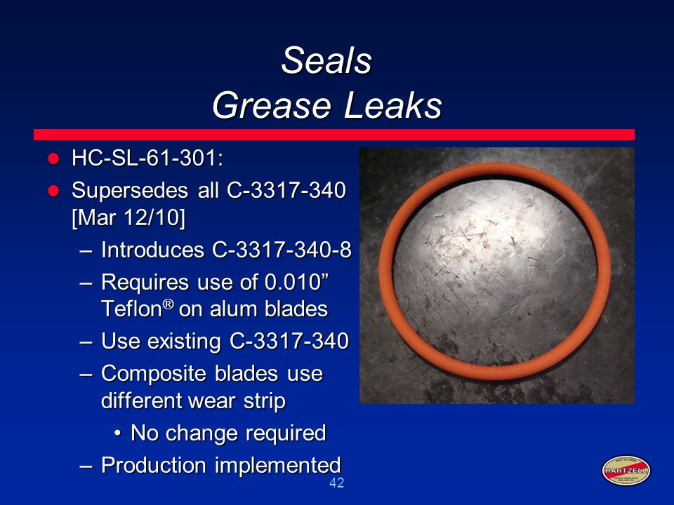 Seals Grease Leaks HC-SL-61-301: Supersedes all C-3317-340 [Mar 12/10]